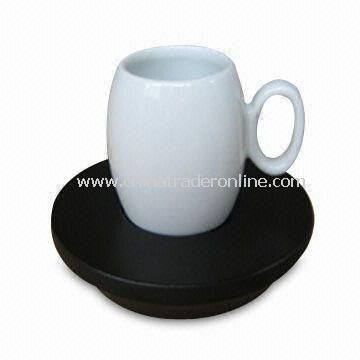 Porcelain Mug with Wooden Saucer, FDA Certified