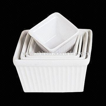Porcelain Square Ribbed Roast Bowl, Comes in White, FDA Certified