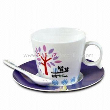 Tree Decal Patterns Porcelain Coffee Cup with Saucer and Teaspoon, Weighs About 0.48kg