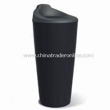 Double Wall Thermal Porcelain Mug with 300ml Capacity and Silicone Lid