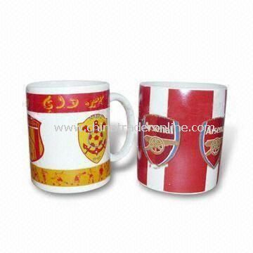 Porcelain Mug in White Glazed with Bear Design Decal, Available in Different Sizes