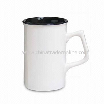 Porcelain Mug in White Glazed with Decal Design, Available in Various Colors