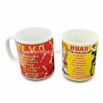Porcelain Mugs in White Glazed with Bear Design Decal, Available in Various Colors