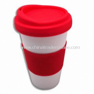 Thermal Porcelain Mug with Silicone Lid and Sleeve, 300mL Capacity