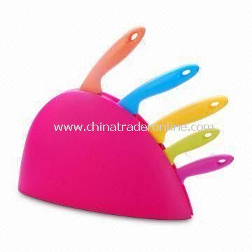 Durable Kitchen Knife Set with Plastic Holder, Comes in Pink