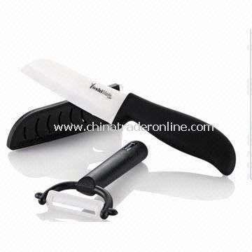 Yoshi Blade Knife and Peeler Set, Made of Ceramic, Suitable for Vegetables and Fruits
