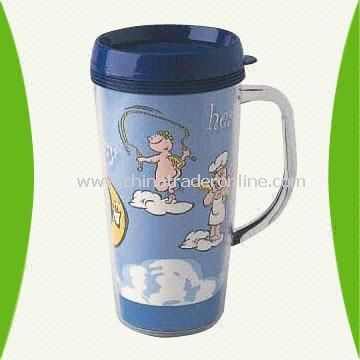 16-Ounce Plastic Mug with Handle and Printed Paper-Inserted Body