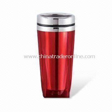 16oz Travel Mug with Plastic Outer and Stainless Steel Liner