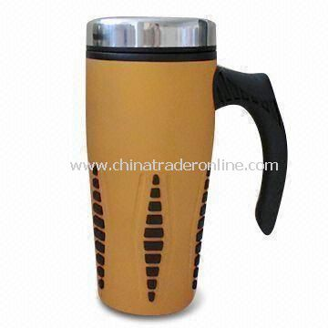 16oz Travel Mug with Stainless Steel Inner and Plastic Outer, Measures 55.5 x 51.5 x 21cm