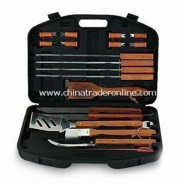 18-piece BBQ Tool Set, Made of Steel, with 3-in-1 Spatula, Tongs, Carving Fork and Knife