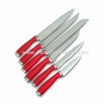 6pc Knife Set with Chef, Carving, Bonning, Utility and Paring Knife, Made of Stainless Steel