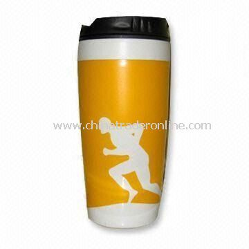 Double Wall Plastic Travel Mug with 16oz Capacity, Used for Sports Activities
