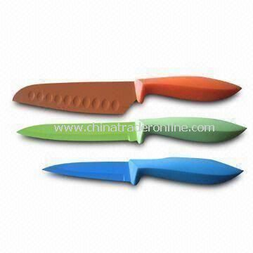 Nonstick Kitchen Knife Set, Includes Chef, Bread, Slicer, Utility and Paring Knives