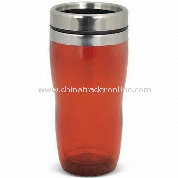 Promotional Travel Mug, Double Wall Plastic Construction, Fits in Vehicle Cup Holders
