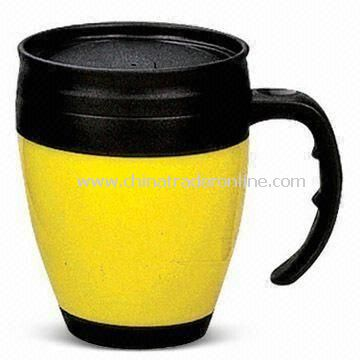 Travel Mug, Double Wall Plastic Construction, Customers Logos are Available