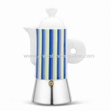 Espresso Coffee Maker in Fashionable Design, Made of Stainless Steel with Ceramic Top Chamber