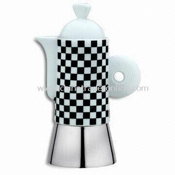 Fashionable Espresso Coffee Maker with Safe Valve and Ceramic Top Chamber, Made of Stainless Steel