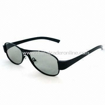 Plastic Circular Polarized 3D Glasses with White Copper Stainless Steel Frame