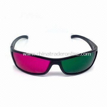 Plastic Red/Green 3D Glasses for 3D Movies, Character of High Precision from China