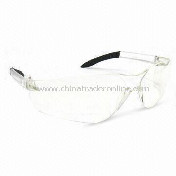 Safety Glasses with Adjustable Length Temples and Polycarbonate Frame