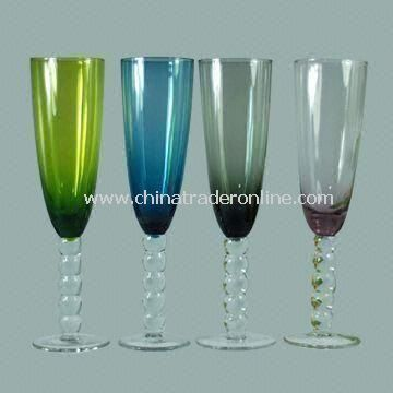 4pcs Set Champagne Stemware Glass, Customized Designs and Logos are Welcome