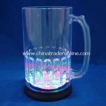 600mL LED Plastic Big Glow Beer Mug, OEM and ODM Orders are Accepted