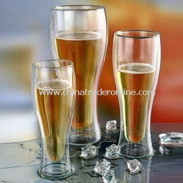 Beer Glass with Double Wall, Comes in a Set of Three, Handmade Glass