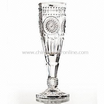 Champagne Glass, Made of Machine-pressed Glass, Various Colors are Available