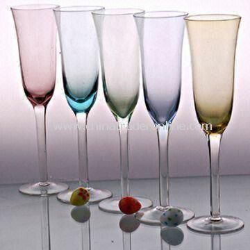 Champagne Glass Set with Color on Top, Various Sizes are Available
