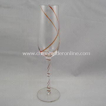Champagne Glass with Double Lines from Top to Bottom