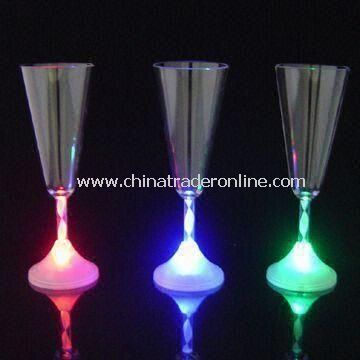 Flash Champagne Cups, Flashing LED Goblet Glass, Can Be Print Logo Cup, Customized Logos Welcomed