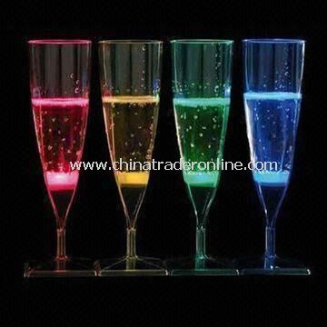 Liquid Activated Acrylic LED Champagne Glasses in Customized Printed Logo, with 150mL Capacity