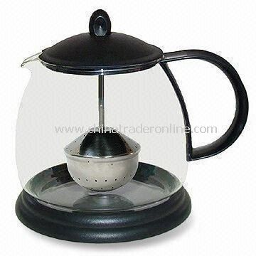 1,800mL Glass Tea Pot with Rod Folding Infuser, Black Lid, and Loose Base