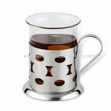 200mL French Press/Tea Mug with Sand Polish, Made of Stainless Steel and Borosilicate Glass from China