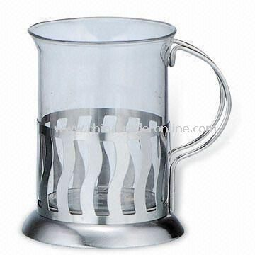 200ml Tea Cup, Made of Stainless Steel and Heat-resistant Glass