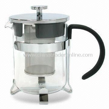 600mL Glass Tea Pot with SS Mesh Infuser and Steel Handle