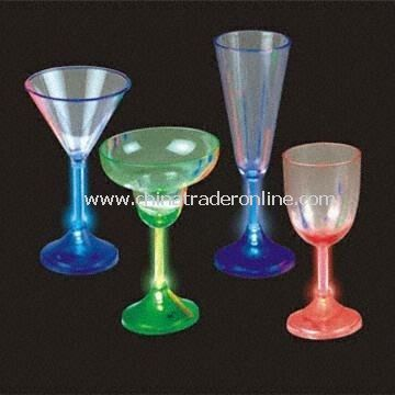 Battery-powered LED Cocktail Glasses, Comes in 4 Different Shapes