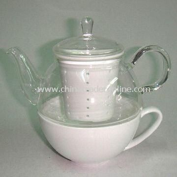 Glass Tea for One, with Ceramic Cup and Strainer