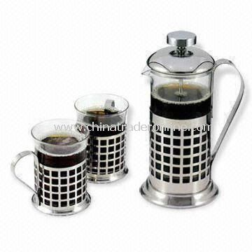 High Temperature Glass Tea Maker, Includes 350mL Plunger and 2 Pieces 200mL Cups