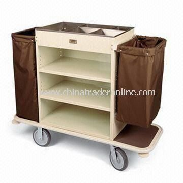 Housekeeping Cart, with Steel Cabinet, Brushed Stainless Steel Top Tray Organizer and Three Shelves