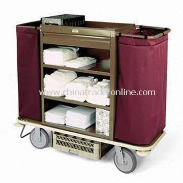 Housekeeping Cart with Steel Cabinet, 2.5-inch Deep Top Tray, Amenity Drawer, and Three Shelves