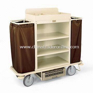 Housekeeping Cart with Steel Cabinet, Tubular Steel Low Profile Handles, and 2.5-inch Deep Top Tray