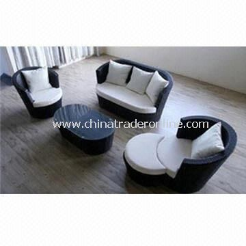 Outdoor Rattan Sofa with Aluminum Frame, UV Protected and Weather-resistant Cushion