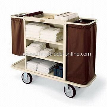 2.5-inch Deep Top Tray Housekeeping Cart with Three Shelves and 30 x 36-inch Steel Cabinet