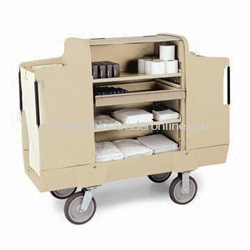 Housekeeping Cart, Roto-molded Polyethylene Cabinet, Two Adjustable Shelves