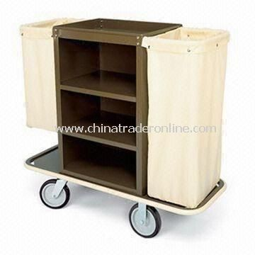 Housekeeping Cart with 2.5-inch Deep Top Tray, Three Shelves, and 24 x 36-inch Steel Cabinet