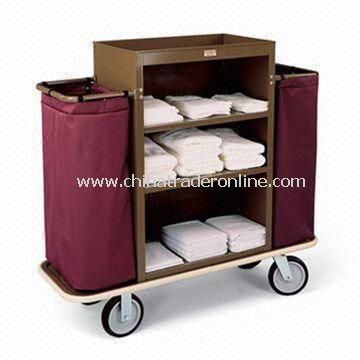 Housekeeping Cart with 30 x 42-inch Steel Cabinet, Three Shelves, and 2.5-inch Deep Top Tray