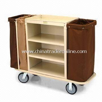 Housekeeping Cart with Double-bag Handle and End Platform on Other Side