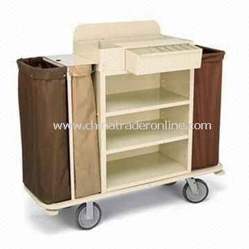 Housekeeping Cart with Three Compartment in a Three-sided Cabinet and Top Tray Organizer
