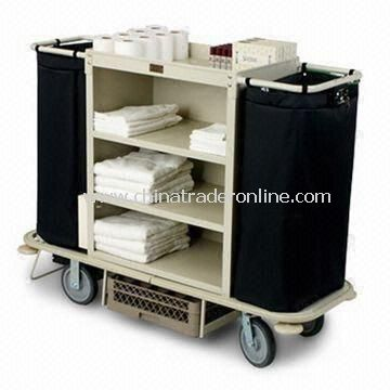 Housekeeping Cart with Three Shelves, Low Profile Handles, and Full Wrap Around Vinyl Bumper
